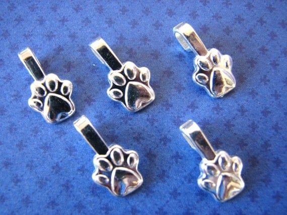 25 Small PAW PRINTS Aanraku Sterling Silver Plated Bails Glue On for Jewelry Scrabble Tiles and Glass Pendants Lead Free