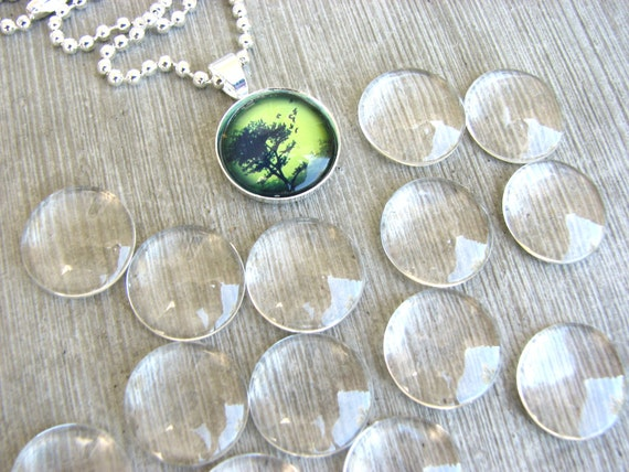 COMBO 20 Clear 16mm Glass Domes Cabochons Circles  20 16mm Bezels