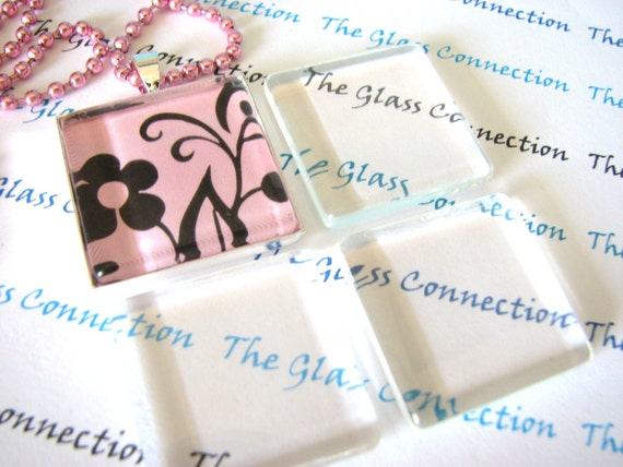 1 inch 10 Clear Smooth Glass Tiles Squares  Pendant Making