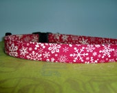 4 months to Christmas SALE  Dog Collar Red with White Snowflakes You Pick the Size