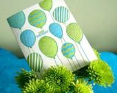 50% OFF SALE! Happy Birthday balloons - letterpress card