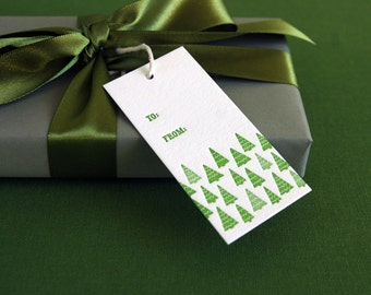 Green Trees letterpress holiday gift tags - set of 10