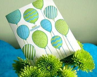 Happy Birthday balloons - letterpress card
