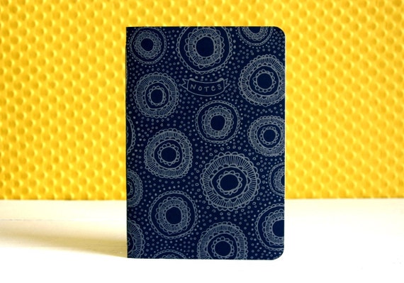 Little Cakes Letterpressed Soft Cover Notebook (Silver/Navy Blue)