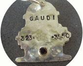 Pet ID tag, custom, Sterling Silver with semi-precious stone