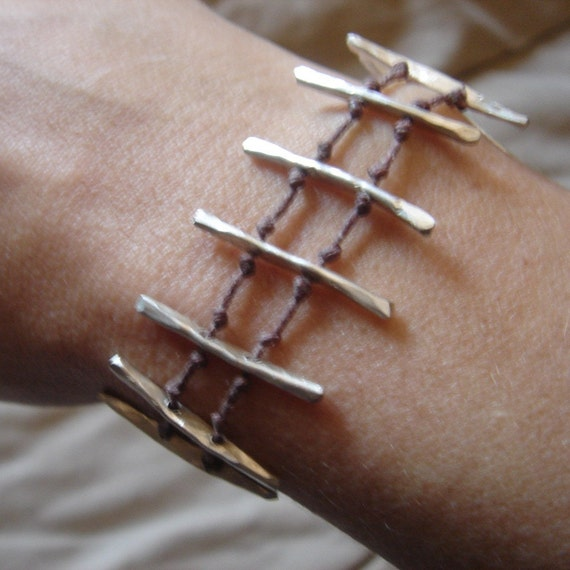 linen cord and sterling bracelet