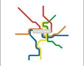 Washington D.C. Metro Subway Map ( LINE ART ) - 16 x 20 Print