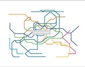 Seoul Subway Map ( LINE ART ) - 16 x 20 PRINT