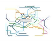 Seoul Subway Map ( LINE ART ) - 8.5 x 11 PRINT