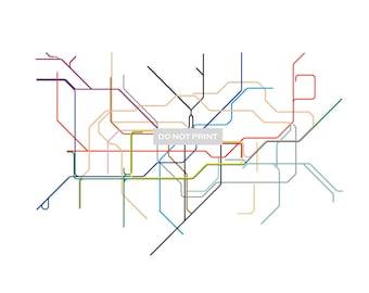 London Subway map ( LINE ART ) - 8.5 x 11 Print