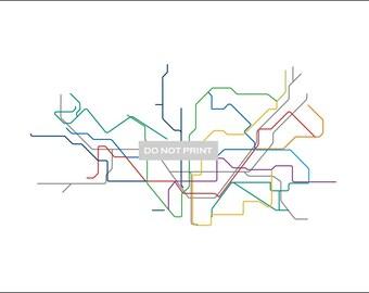 Barcelona Metro Subway Map ( LINE ART ) - 12 x 18 PRINT
