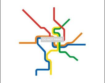 Washington D.C. Metro Subway Map ( LINE ART ) - 18 x 24 Print