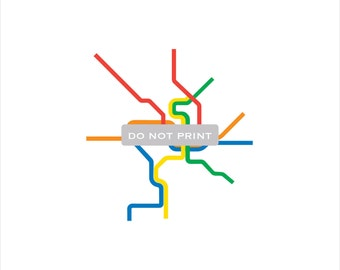 Washington D.C. Metro Subway Map ( Line Art )  - 12 x 12 PRINT