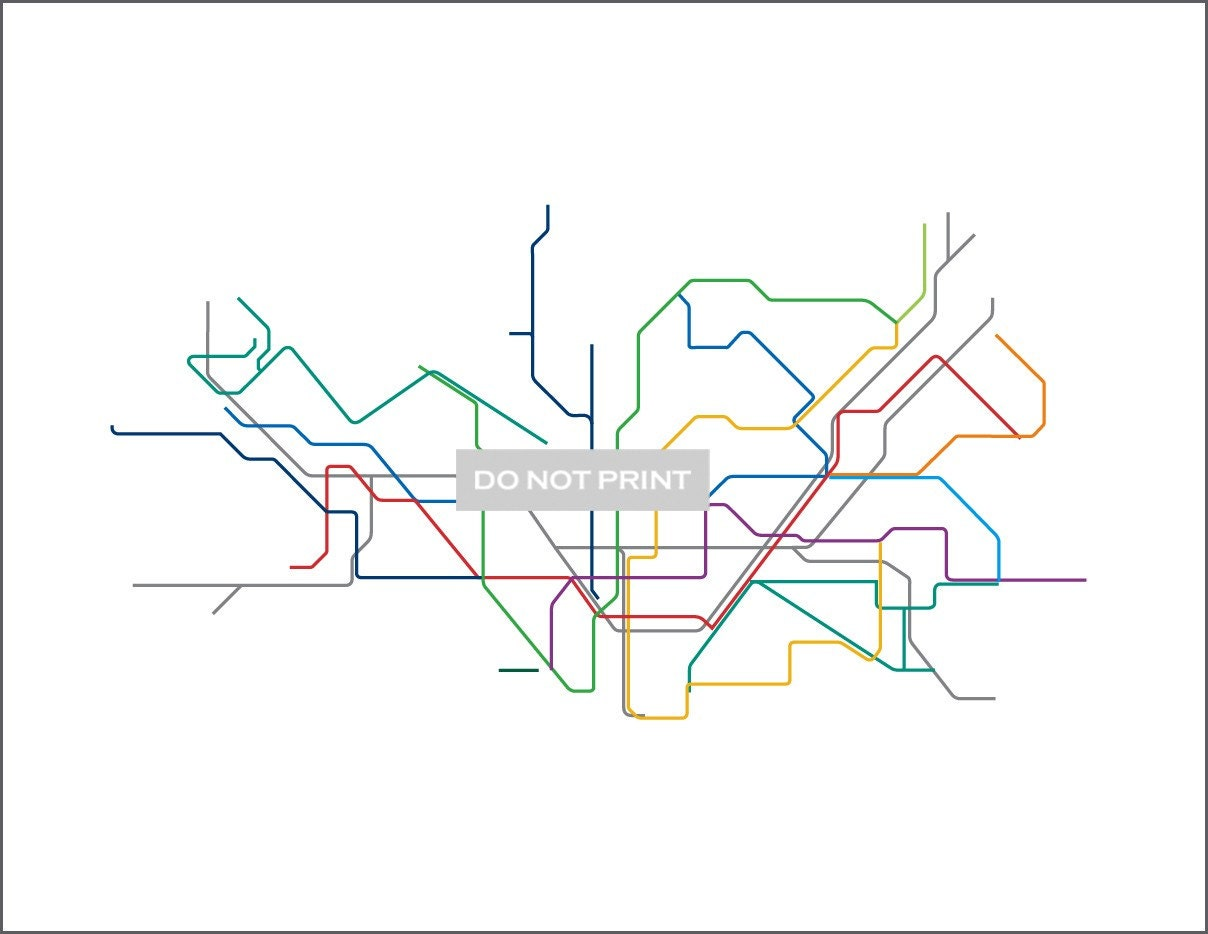Line Art Map : Barcelona metro subway map line art print