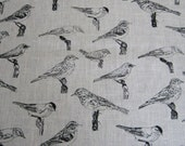 Handprinted bird fabric piece 49x49 cm