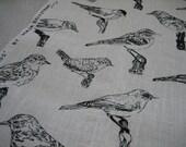 Hand screenprinted Bird fabric piece 75cm x 75cm