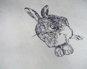 Hand screenprinted fabric piece / 40x40 cm