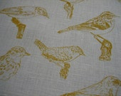 Hand screenprinted Bird fabric piece 74 cm x 45 cm