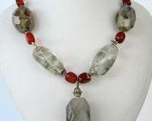 Necklace - Tourmalinated Quartz - Agate - Carnelian