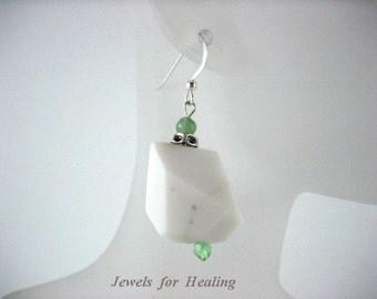 Earrings- Agate - Jade- Sterling Silver- Gift Idea