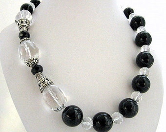 Necklace - Crystal Quartz - Black Agates- Sterling silver