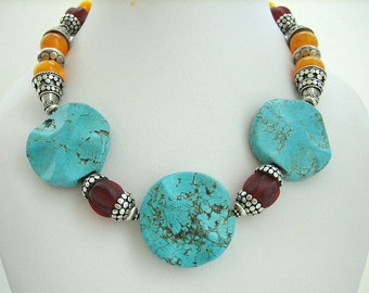 Necklace - Choker - Turquoise - Resin - Sterling silver