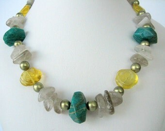 Necklace - Russian Amazonite - Yellow Fluorite Roses - Tourmalinated Quartz chips - Gold Pearls