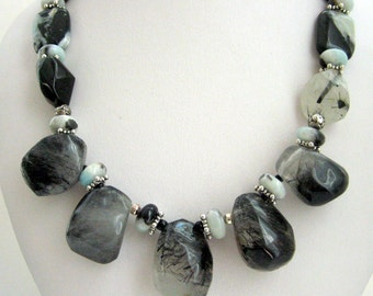 Necklace- Tourmalinated Quartz - Amazonite - Sterling silver- Gift for her