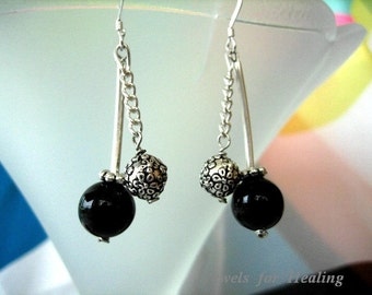 Earrings  Agate with Bali Silver