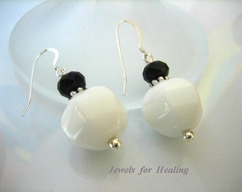Earrings - Black and White Agate Rondells