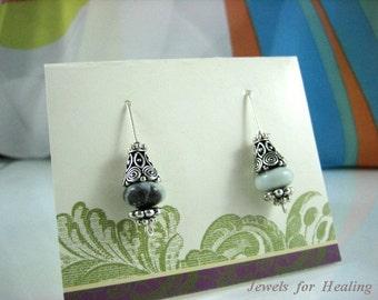 Earrings - Alluring Amazonite-Bali silver-Handmade sterling silver hooks-Fashion accessory