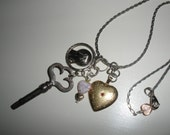 clock Key, Mary medal, Unique Silver Chain, VINTAGE, 1940s Gold heart with Ruby Glass Stone, beautiful patina