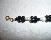 sale, Petite, small SIZE Bracelet, under 7 inches,  ELEGANT, Jet Black 4mm Beads, Woven, Quality Fresh Water Pearls, 14K gf