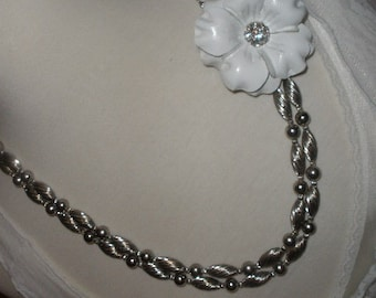 free ship, Sale,LEATHER Flower Necklace,refashioned, Rhinestone Cluster, Wedding, Push Clasp, New/ VINTAGE, Cowgirl, Excellent Condition