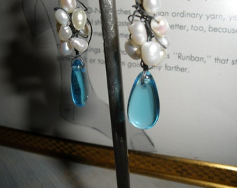 Free Ship, real Pearl Earrings with Aqua Blue Glass Drop,other colors, OOAK , Heavy Gauge Sterling Silver ear wires, Hand Wire Wrapped, ooak