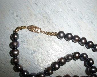 14K clasp & 7mm Black Pearls, 16 inch Wonderful color, 'Fresh Water Pearls w/ Heavy Weight 3mm 14k beads, Alluring, 7mm AAA quality Pearls