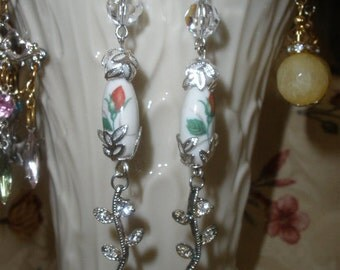 Winter White Shoulder Dusters, Swarovski, Silvertone,'Hand Made', VINTAGE Milk Glass with a Rose  BEAD,  Rhinestones, Old/New Earrings,