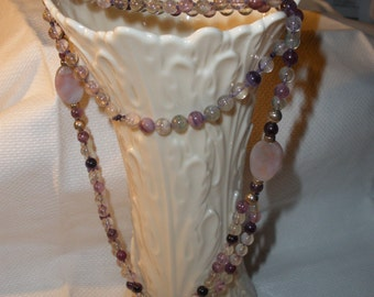 Rainbow Florite necklace w/ xthick Sterling Silver beads/ hand knotted/ 'gorgeous color'/AAA quality/unique 2 Bottom strands