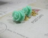 Green Rose Post Earrings