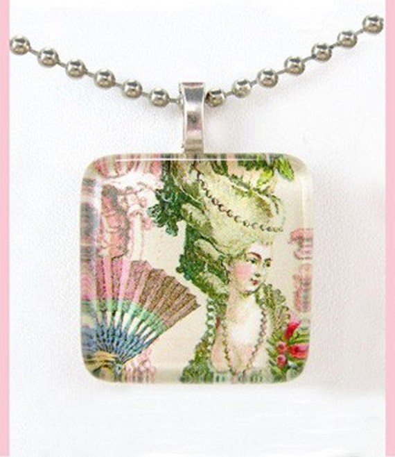 Marie Antoinette and fan. Glass tile pendant with ballchain necklace