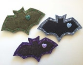 RESERVED-Wool Felt Bat Pins-1 of each green, blue and purple