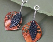 Recycled Leather Leaf Earrings Sterling Silver Rust