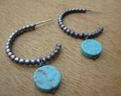 Turquoise December Birthstone Sterling Silver Hoops Boho Earrings