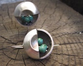 Mod December Birthstone Turquoise Moon Sterling Silver Earrings
