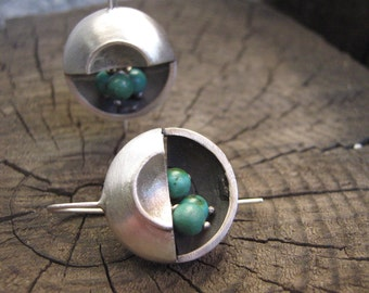 Mod December Birthstone Turquoise Moon Sterling Silver Earrings