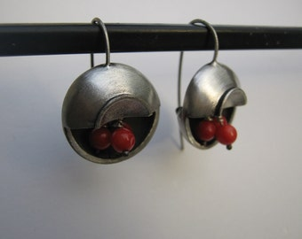 Sterling Silver Coral Red Earrings Half Moon Deco
