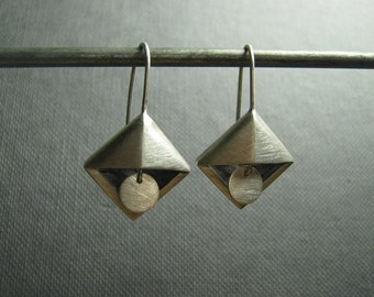 Art Deco Silver Triangle Pyramid Earrings