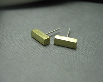 Golden Brass Bar Post Stud Earrings