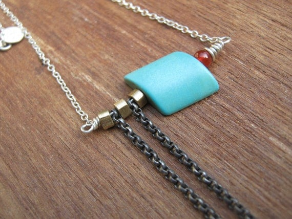 Turquoise Brass Sterling Silver Asymmetrical  Necklace