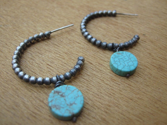Turquoise December Birthstone Sterling Silver Hoops Boho Earrings